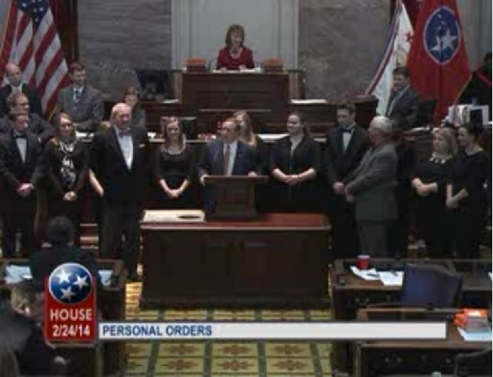 The Seniors from the band standing on the floor of the Tennessee House of Representatives. The band was recognized for representing the state well in events such as the Macy's Thanksgiving Day Parade.